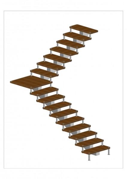Лестница на одном косоуре с больцами (комбенированная)