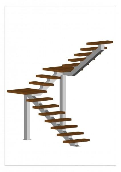 Лестница на одном косоуре с опорными столбами