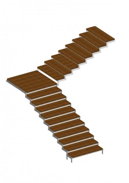 лестница облицованная пластинами